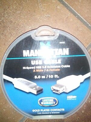 Manhattan 10ft USB 2.0 A Male//Female Extension Cable BK
