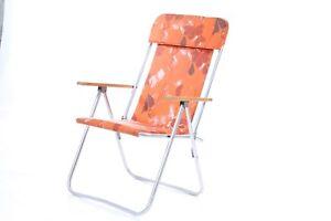 Détails sur Ancienne Chaise Pliante de Camping Jardin Accoudoir Terrasse