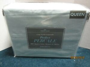 Bed Bath & Beyond 400 Thread Count Blue Percale Sheet Set Size