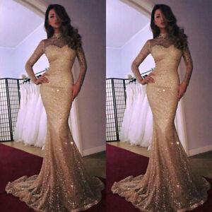 Women-Long-Maxi-Sequins-High-Neck-Long-Sleeve-Mermaid-Evening-Party-Gown-Dress