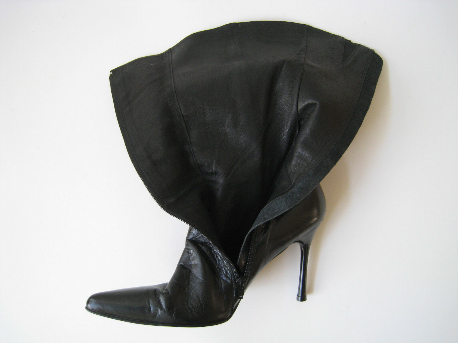 DUNE BLACK CALF LEATHER MID CALF BLACK Stiefel WOMEN US 8 EUR 41 HOT MADE IN SPAIN VINTAGE c37ad4