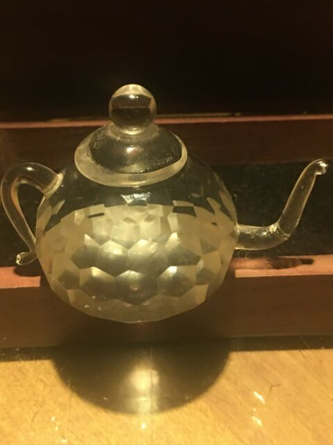 Crystal Clear Glass Teapot Sculpture Figurine Paperweight Home Decor Collectible