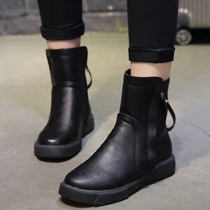 Retro-Women-039-s-Winter-Warm-Ankle-Boots-Round-Toe-Casual-Leather-Booties-Shoes