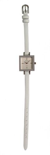 Talbots Women's Silver-Tone Ultra-Slim White Leather Strap Watch MINT