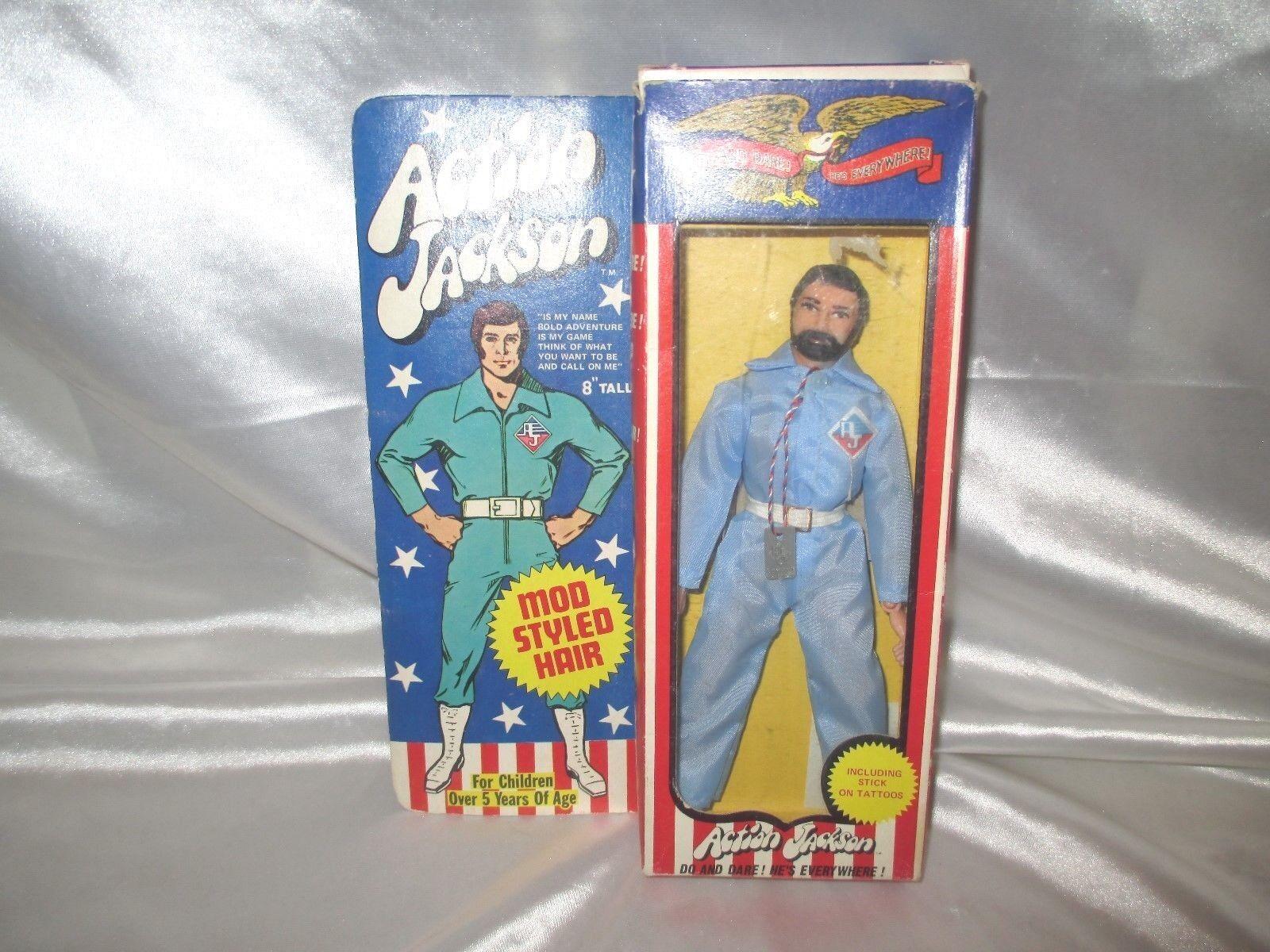 Mego Acción Jackson En Caja - 8  figura-Vintage Completo, Todo Original