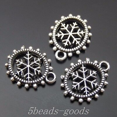 99pcs Gun Black Alloy Snowflake Gear Oval Crafts Pendant Charms 14*11*2mm 50099
