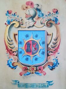 Heraldique-technique-mixte-de-Manuel-de-la-Paz-Mosquera-y-Quiros-Vilches