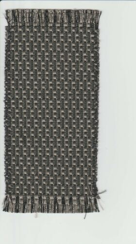 Dollhouse Miniature Woven Accent Rug in Taupe /& Black Weave Design ~ HWRS416N