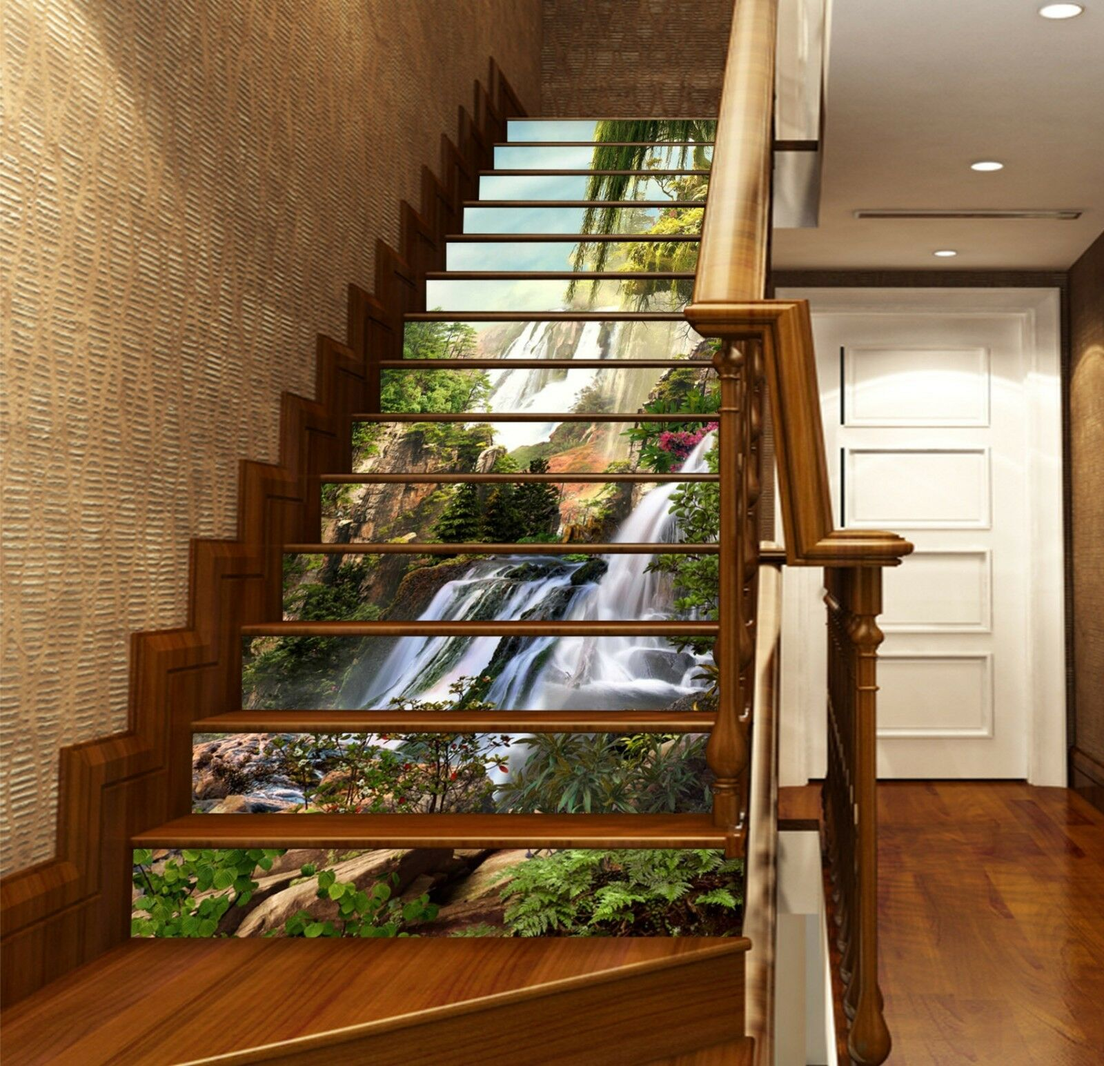 3D Trees Waterfall Stair Risers Decoration Photo Mural Vinyl Decal Wallpaper CA
