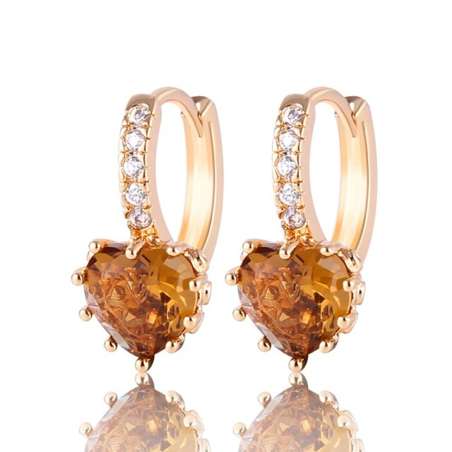 Engagement smoky swarovski crystal 18k gold filled  unique   leverback earring