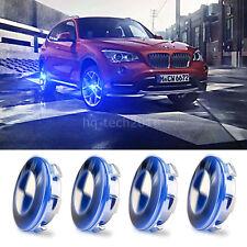 4X Car Cover Hood LED Tire Emblem Badge Wheel Center Hub Caps For BMW Blue Light