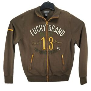Lucky-Brand-Men-039-s-Brown-Small-Track-Jacket-Too-Tough-To-Die-Skull