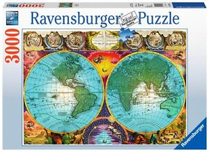 RAVENSBURGER-17074-MAPA-ANTIGUO-PUZZLE-3000-PIEZAS-Antique-World-Map-Jigsaw