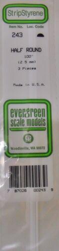 """Evergreen Strip Styrene 243 3 Pieces .100/"""" Half Round"""