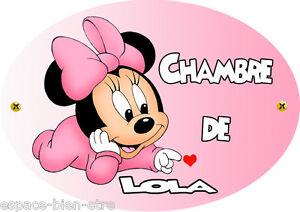 Plaque De Porte Minnie Mouse Disney Personnalisée Avec Prénom V - Plaque de porte prénom