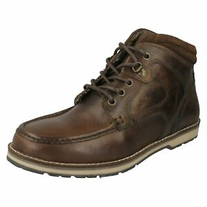 mens red tape brown lace up casual everyday leather smart