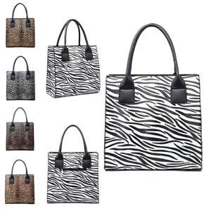 Damen-Leopardenmuster-Einkaufstasche-Maedchen-Animal-Zebra-Druck-Schultertasche