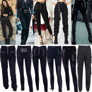 SteamPunk-Gothic-Women-Long-Pants-Casual-Overalls-Leggings-Vintage-Pencil-Pants
