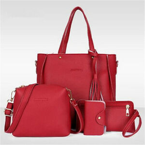 4pcs Women Lady Leather Handbag Shoulder Bags Tote Purse Messenger Satchel Set