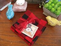 Holiday Black & Red Check Cotton Cloth Napkins Set Of 4 W/ Snowman Gift Tag