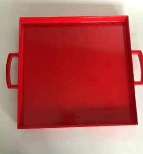 Zak Designs Meeme Large Square Square Tray Red Handles