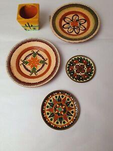 Vintage Holiday Plates Souvenirs Bundle Mexico? Kitsch