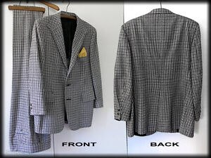 Hardy-Amies-Vintage-Houndstooth-Suit-Coat-amp-Pants-Black-Gray-White-Checks
