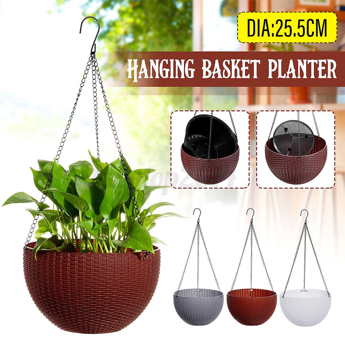 Hanging Flower Plant Round Pot Basket Planter Holder Garden Decor NEW
