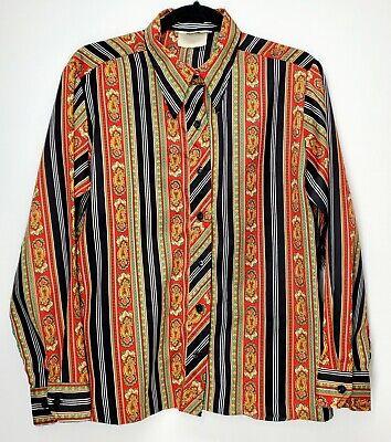 Vintage Polyester Paisley Blouse,Size 18,Sears Blouse,Double Knit Blouse
