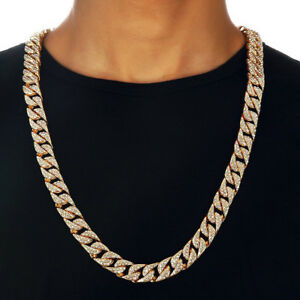 Hip-Hop-Men-Quavo-Gold-PT-Iced-Out-15mm-20-034-Miami-Cuban-Choker-Chain-Necklace