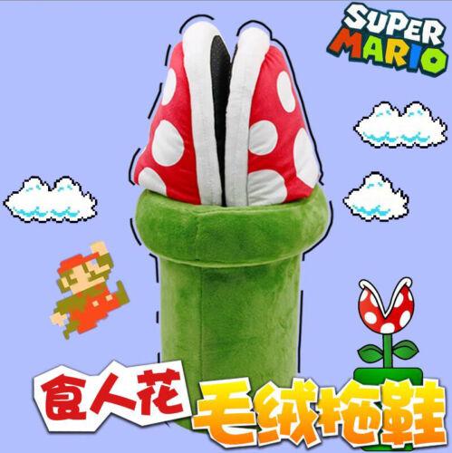 Super Mario Bros Piranha Flower Decoration Plush Slipper Warm Shoes Girl Cosplay