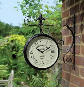 Black-Paddington-Double-Sided-Faced-Metal-Garden-Outdoor-Wall-Clock-Numerals