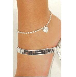 New-Sexy-Crystal-Rhinestone-Heart-Anklet-Womens-Ladies-Ankle-Bracelet-Jewellery