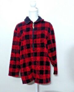 auf Füßen Bilder von schön in der Farbe Wählen Sie für authentisch Details zu Woolrich Fleece Pullover Damen M Rot und Schwarz Kariert  Hochwertig Inv #S8242