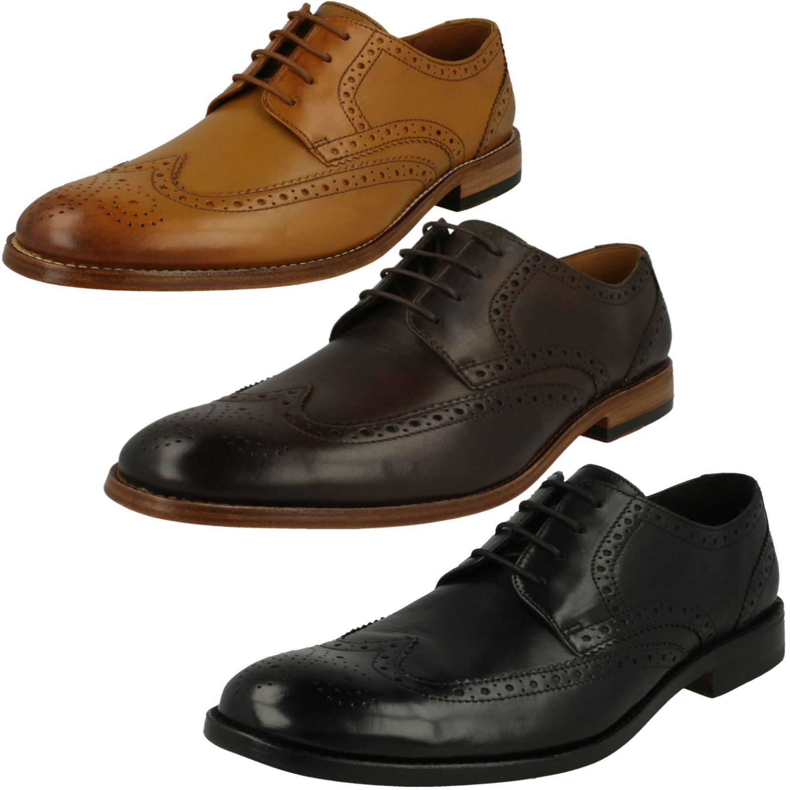065fd52a55c02 Mens Clarks Formal Lace-Up Brogue Detailed James Wing shoes ...