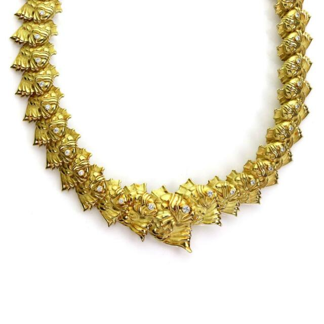 18k Judith Leiber 1.30ct Diamond All Around Fish Link Necklace