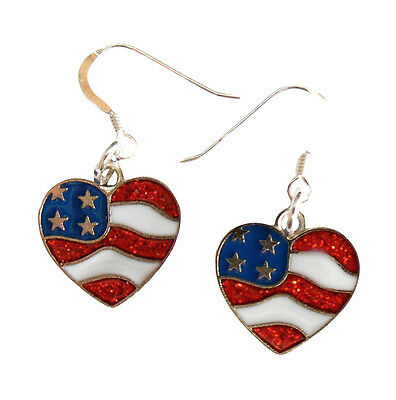 Patriotic Earrings 925 Sterling Silver Earwires Flag USA American IN GIFT BOX