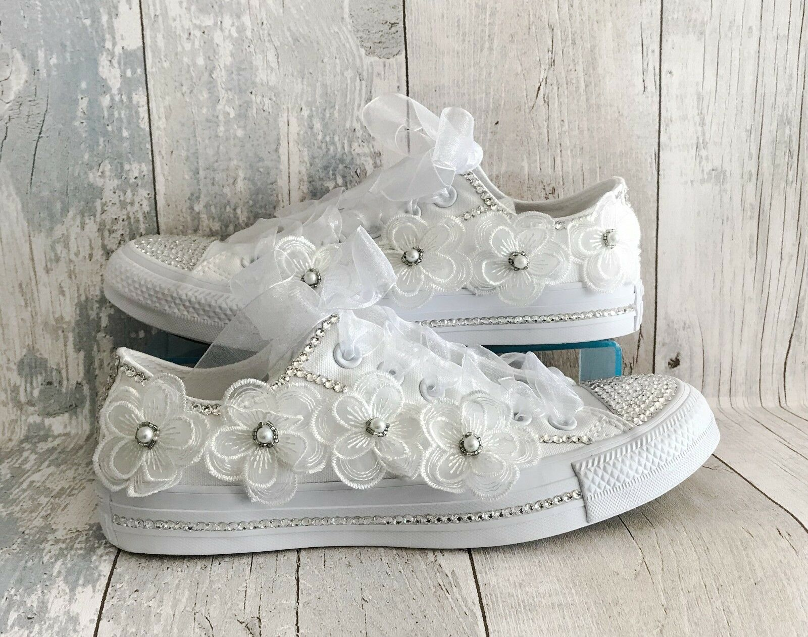 Wedding Converse Trainers shoes. Swarovski Crystals and Organza Lace Flowers