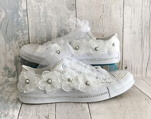 841051aa1e082b Image is loading Wedding-Converse-Trainers-Shoes-Swarovski-Crystals -and-Organza-