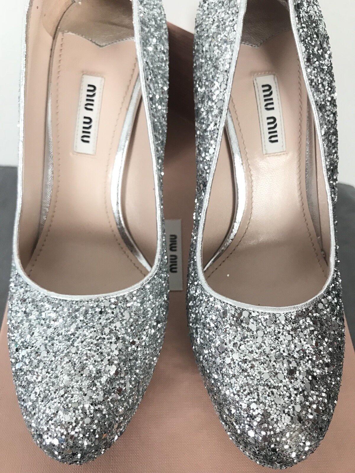 890 MIU MIU MIU MIU Glitter Silver Pumps Calzature women Metallic Heels 38 7.5 Box Bags 019806