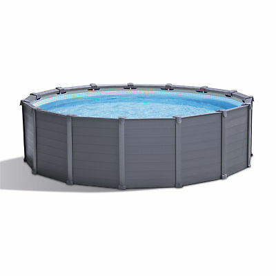 "Intex 26383EH 15'8"" x 49"" Metal Frame Above Ground Swimming Pool, Graphite Gray"