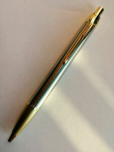 Parker-Ballpoint-Pen-IM-Series-Stainless-Steel-Color-Gold-Clip-0-7mm-Medium-Nib