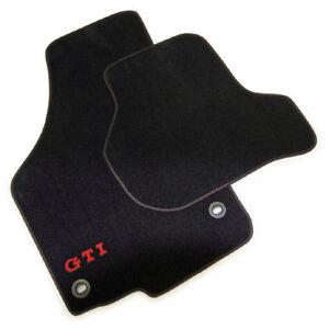 Genuin-VW-GTI-Anthracite-Carpet-Mat-Set-Oval-Twist-Fittings-Golf-MK5
