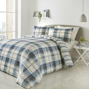 Fusion-Balmoral-Reversible-Tartan-Stripe-Easy-Care-Duvet-Cover-Bedding-Set-Blue