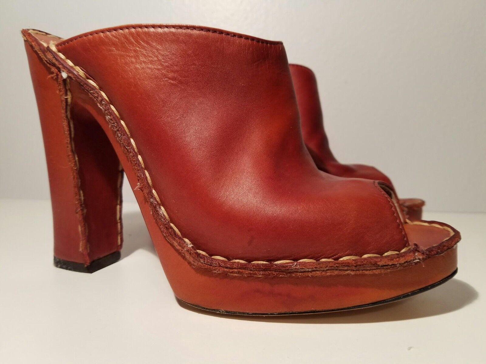 DeRoche Damens's 8 Braun Leder Open Toe Wood Platform Sandaleen