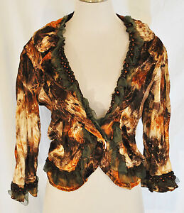 VTG-BOHO-Chic-Brown-Lace-Sequin-Beaded-Cropped-Layering-Blazer-Jacket-L