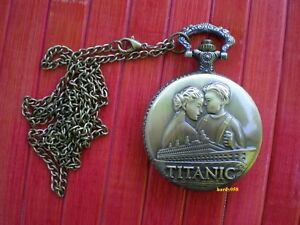 RMS-Titanic-Pocket-Watch-Rose-amp-Jack-with-pendant-Chain
