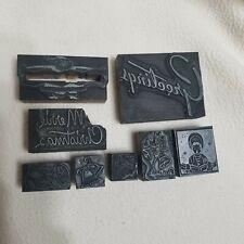 8 Letterpress Printing Blocks Merry Christmas Greetings Santa Bells Caroler