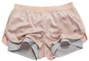 SUPERDRY-women-shorts-run-LARGE-pink-PANELLED-blush-camo-GYM-nwt