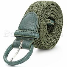 Men Women Elastic Woven Braided Nylon Canvas Leather Buckle Waist Belt Waistband
